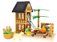 GE154404 Happy farm children educational toys brick house  173pcs